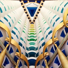 looking up into the Burj Al Arab's colorful atrium